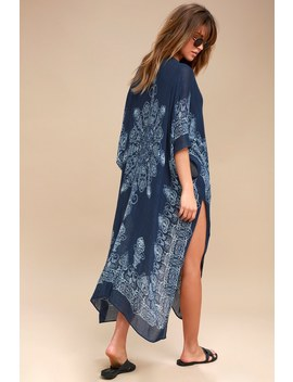 Exotic Sol Mint And Navy Blue Print Kimono by Lulu's