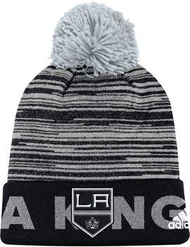 Adidas Men's Los Angeles Kings Locker Room Black Pom Knit Beanie by Adidas