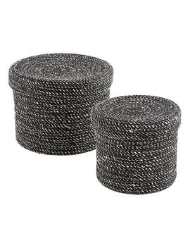 Black Round Jute Box With Lid by Container Store