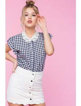 Gingham Crochet Collar Shirt by A'gaci