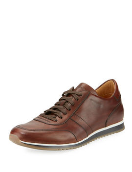 Hand Antiqued Calf Sneaker by Magnanni For Neiman Marcus