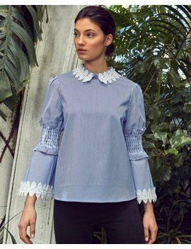 Smocked Fluted Sleeve Cotton Shirt by Ted Baker