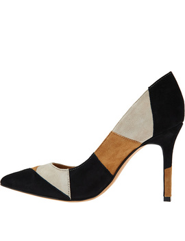"""As Is"" G.I.L.I Pointed Toe Pumps  Jill 2  Patchwork by Qvc"