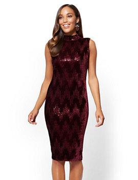 Sequin Velvet Shift Dress by New York & Company