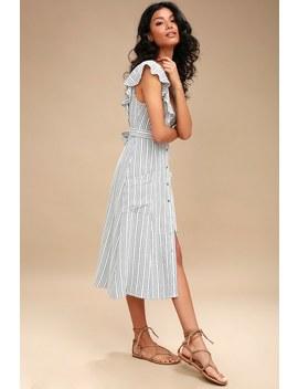 Kika Grey Striped Button Up Midi Dress by Lost + Wander