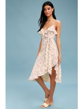 Le Quartier Nude Floral Print Ruffled Midi Dress by Lulus