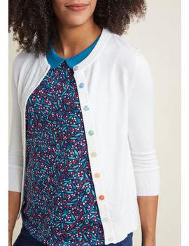 Charter School Crew Neck Cardigan In Rainbow Buttons Charter School Crew Neck Cardigan In Rainbow Buttons by Modcloth