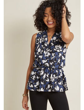 Great Gal In The Corner Office Floral Top In Blue Petals Great Gal In The Corner Office Floral Top In Blue Petals by Modcloth