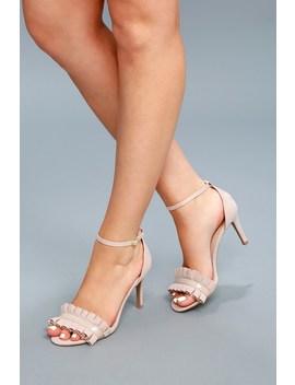 Antoine Nude Suede Ankle Strap Heels by Lulu's
