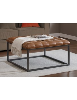 Healy Saddle Brown Leather Tufted Ottoman by I Love Living