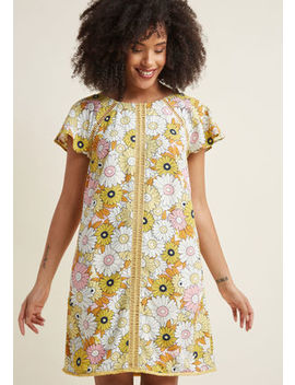 Whimsical Wildflowers Shift Dress In Dragonflies Whimsical Wildflowers Shift Dress In Dragonflies by Modcloth