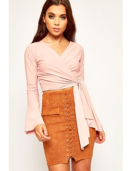 Fran Long Bell Sleeve Tied Front Crop Top by Wear All