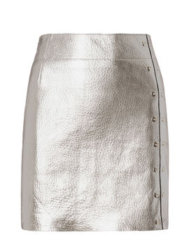 silver-metallic-leather-mini-skirt by veda