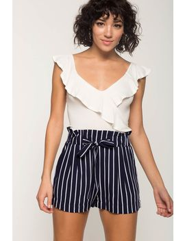 Stripe Paper Bag Waist Shorts by A'gaci