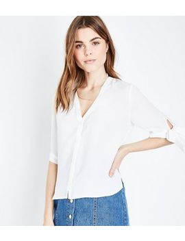Off White Tie Sleeve Shirt by New Look