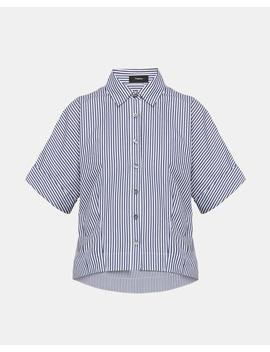 Striped Cotton Cropped Shirt by Theory