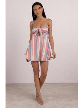 Beach Riot Taylor Pink Multi Front Tie Dress by Tobi