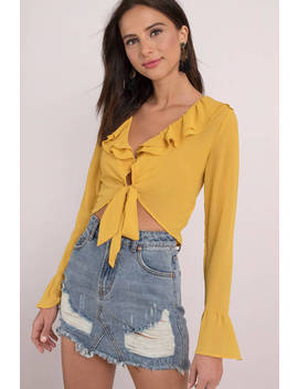 Secret Crush Yellow Self Tie Top by Tobi