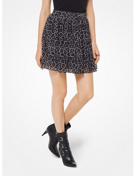 Leopard And Plaid Chiffon Mini Skirt by Michael Michael Kors