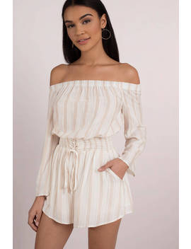 Kate White And Cream Stripe Off Shoulder Romper by Tobi