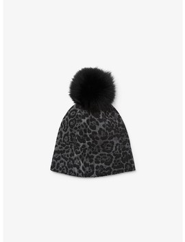 Pom Pom Cheetah Cashmere Beanie by Michael Michael Kors