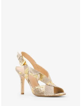 Becky Metallic Embossed Leather Sling Back Sandal by Michael Michael Kors