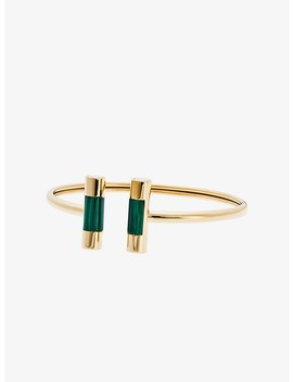 Malachite Gold Tone Barrel Cuff by Michael Kors
