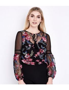 Black Floral Embroidered Mesh Bell Sleeve Top by New Look