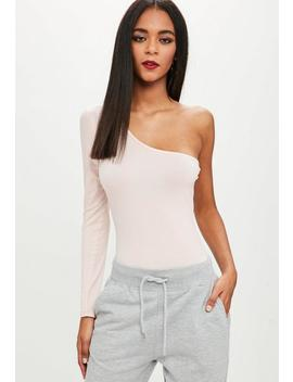 Nude One Shoulder Jersey Bodysuit by Missguided