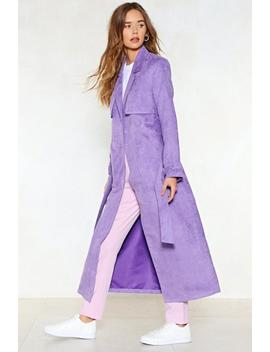 Go Back A Long Way Vegan Suede Trench Coat by Nasty Gal