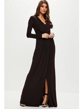 Wine V Neck Long Sleeve Maxi Dress by Missguided