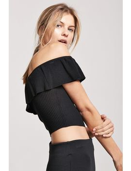 Ribbed Flounce Off The Shoulder Crop Top by F21 Contemporary
