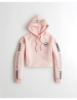 Checkerboard Graphic Crop Hoodie by Hollister