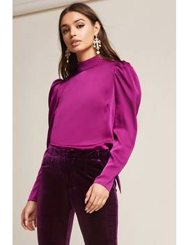 Satin Pussycat Bow Top by F21 Contemporary
