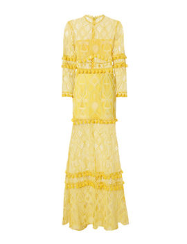 Thora Yellow Lace Pom Pom Dress by Alexis