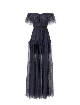 Off Shoulder Fine Lace Maxi Dress by Self Portrait