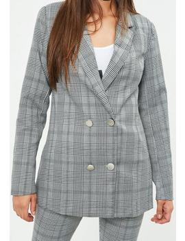 Grey Prince Of Wales Double Breasted Blazer by Missguided