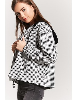Contrast Hooded Houndstooth Button Front Jacket by F21 Contemporary