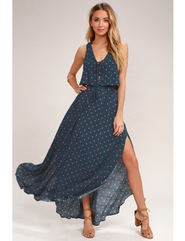 Phaedra Navy Blue Print Lace Up Maxi Dress by Lulus