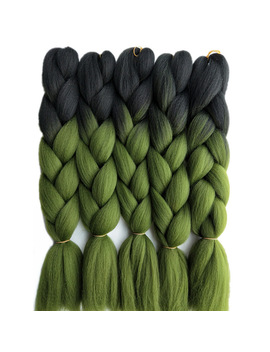 "Pervado Hair Synthetic Jumbo Braids Hair 24"" 65 Cm 100g/Pack Grass Green Emerald Ombre Crochet Braiding Bulk Hair Extensions by Pervado Hair Store"