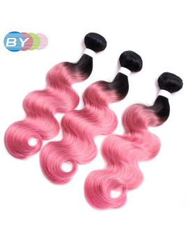 By Hair Pre Colored Non Remy Hair Extension Human Hair Weave 3 Bundles Rose Pink Ombre Hair Color Malaysian Body Wave by By Official Store