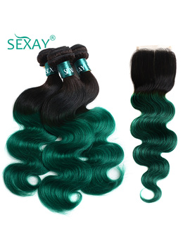 Sexay Pre Colored Ombre Bundles With Closure 1 B/Green Ombre Human Hair Weave Brazilian Body Wave 3 Bundles Pack With Closure by Sexay Official Store