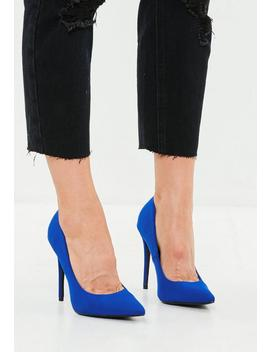 Blue Satin Pointed Pumps by Missguided
