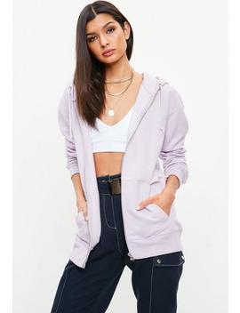 Lilac Longline Zip Thru Hoodie by Missguided