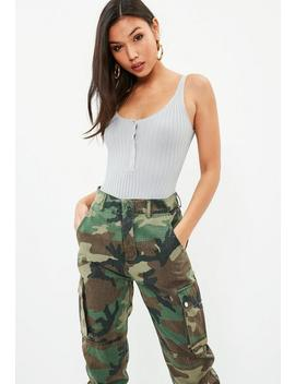 Gray Basic Popper Ribbed Bodysuit by Missguided