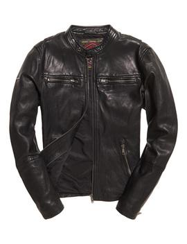 Real Hero Leather Biker Jacket by Superdry
