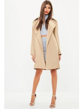 Nude Belted Trench Coat by Missguided