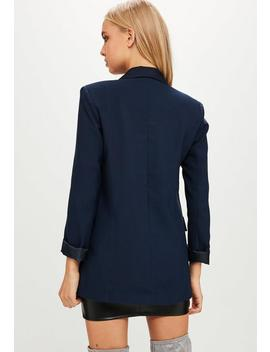 Navy Blue Sleeve Blazer by Missguided