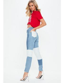 Blue Riot Patchwork High Waisted Mom Jeans by Missguided