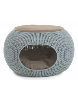 Keter Pets Knit Cozy Pet Home, Luxury Lounge Bed & Pet Home With Cushions, Sandy Beige by Keter